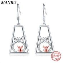цена MANBU Hot sale Owl earrings for women 2019 statement 925 sterling silver pave setting CZ earrings for women trendy jewelry gift в интернет-магазинах