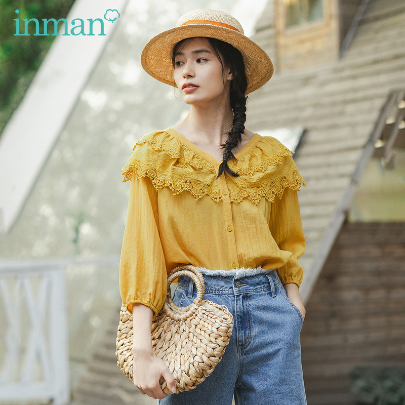 INMAN 2020 Spring New Arrival Literary V-neck Splicing Lace Sweet  Three Quarter Sleeve Blouse