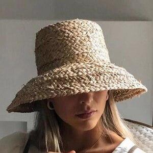 Image 1 - Sommer hüte für frauen Retro flache hängenden hut krempe hand made bast stroh hut damen outdoor sonnenschutz strand stroh hut