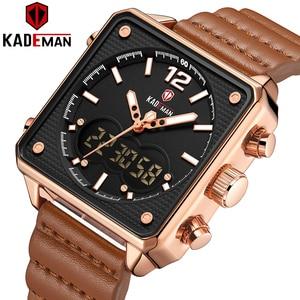 Image 1 - أفضل العلامة التجارية الفاخرة KADEMAN الرجال التناظرية الرقمية الساعات الرياضية جلد طبيعي مربع الشكل ساعة كوارتز Relogio Masculino K9038