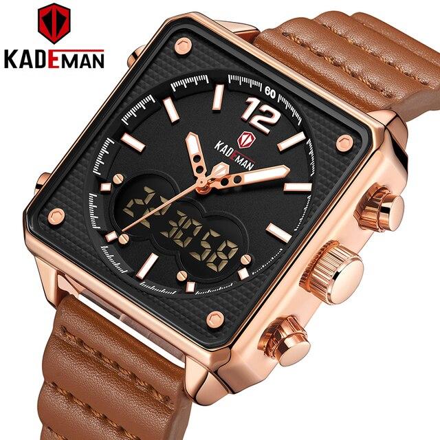 أفضل العلامة التجارية الفاخرة KADEMAN الرجال التناظرية الرقمية الساعات الرياضية جلد طبيعي مربع الشكل ساعة كوارتز Relogio Masculino K9038