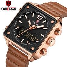 Marca de luxo superior kademan analógico digital esportes relógios masculinos couro genuíno forma quadrada relógio quartzo relogio masculino k9038
