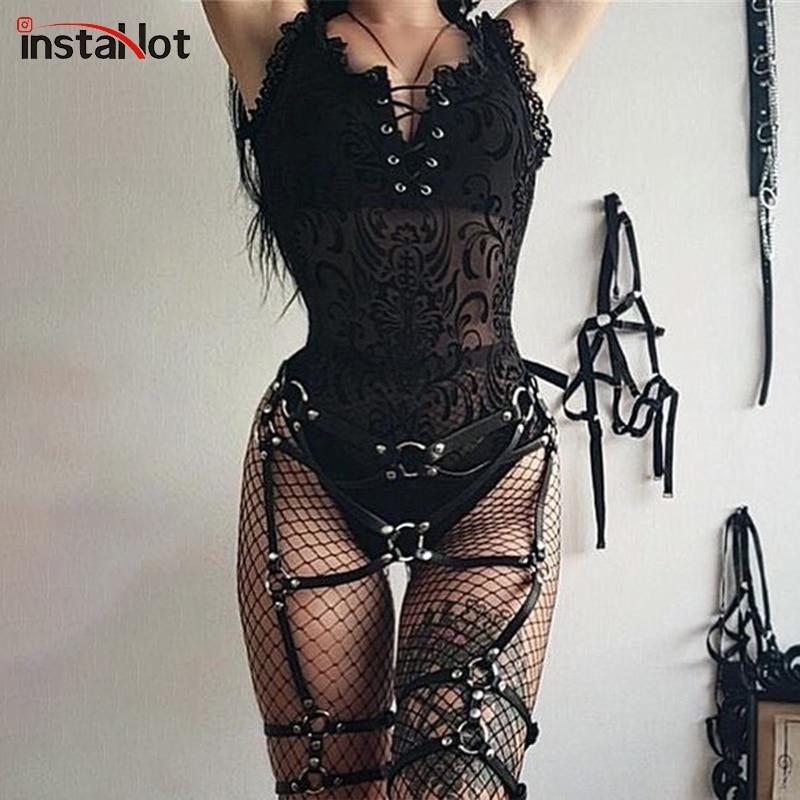 InstaHot Gothic Punk Black Bodysuit Lace Up Sleeveless Mesh Sexy Slim Skinny Transparent Rompers Women Summer Darkness Bodysuit
