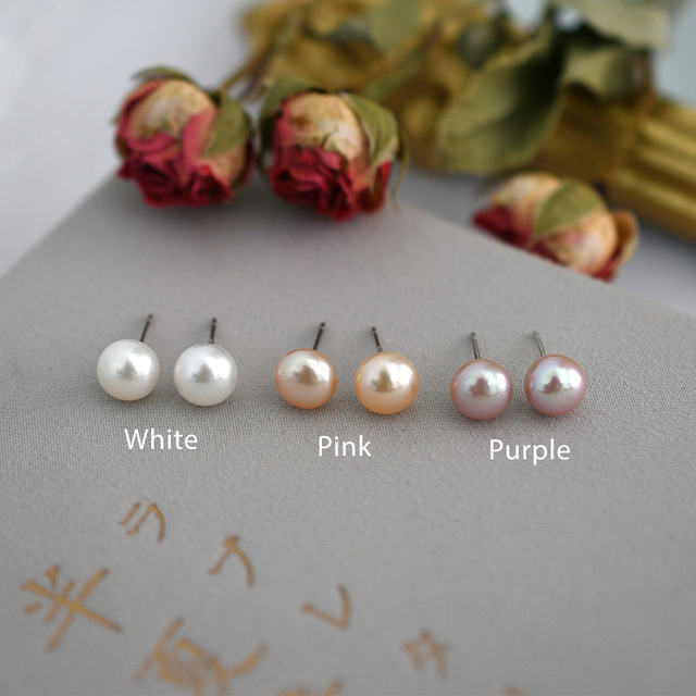 ASHIQI Natural Freshwater Pearl Stud Earrings For Women Real 925 Sterling Silver Jewelry Gift Wholesale 4