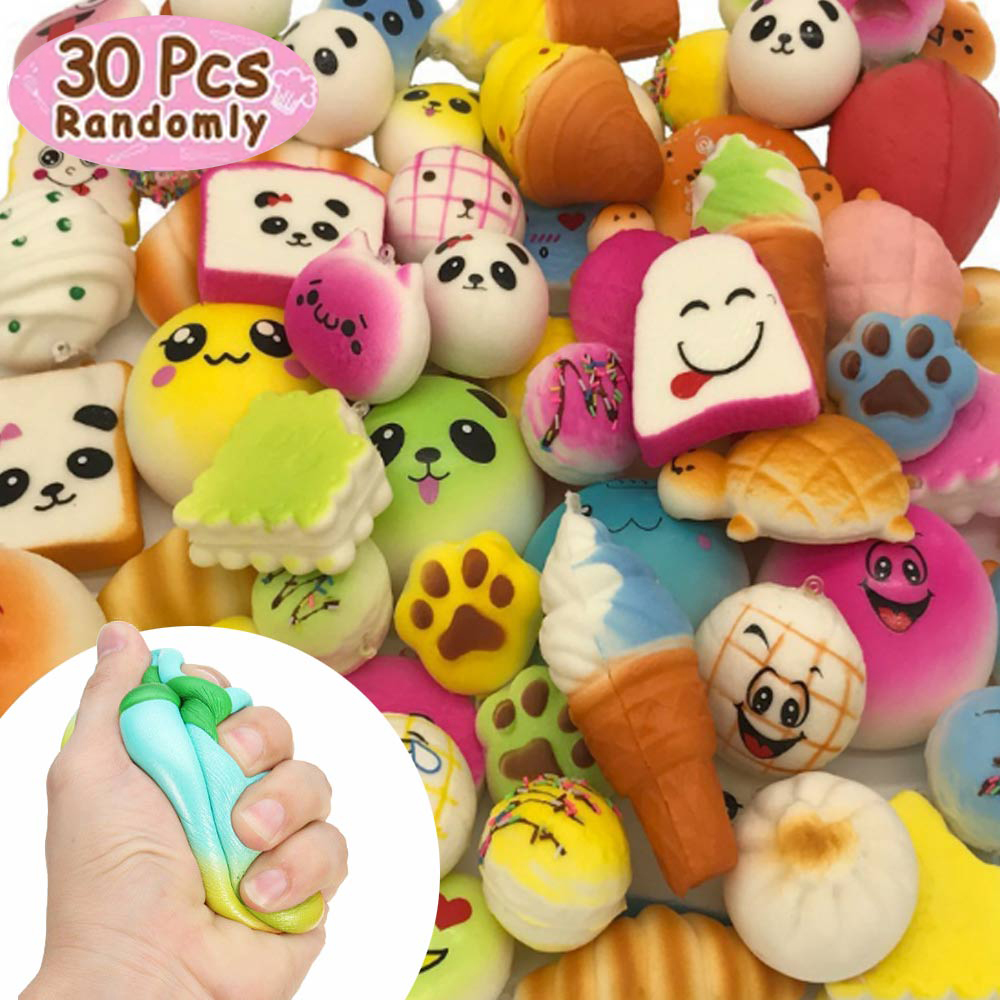 30Pcs/Set Soft Squishy Bread Cake Toy Cute Jumbo Squishy Key Rising Wipes Squeeze Anti-stress Toys Kawaii Phone Straps Squishies