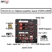 HIFIDIY – haut-parleurs 2.1 caisson de basses, carte amplificateur TPA3116 Audio 50W x 2 + 100W Sub ampli indépendant 2.0 sortie Bluetooth 4.2 5.0
