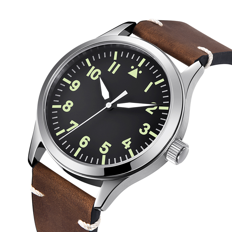 Permalink to watch men automatic mechanical watch Luminous waterproof 316L Solid stainless steel Leather 42MM KGT22z
