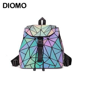 Image 1 - DIOMO Small Backpack Women Holographic Sequin Female Backpacks for Teenage Girls Bagpack Drawstring Bag Designer Korean Style
