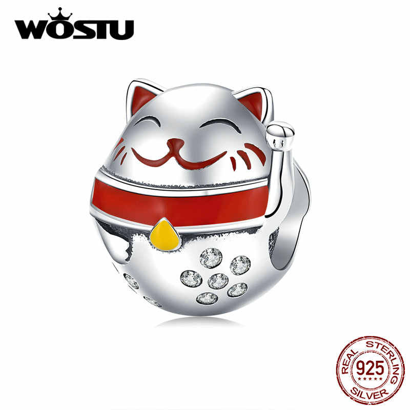 WOSTU 925 スターリングシルバー招き猫ビーズジルコン素敵な猫チャームフィットオリジナルブレスレットのペンダント CQC1374
