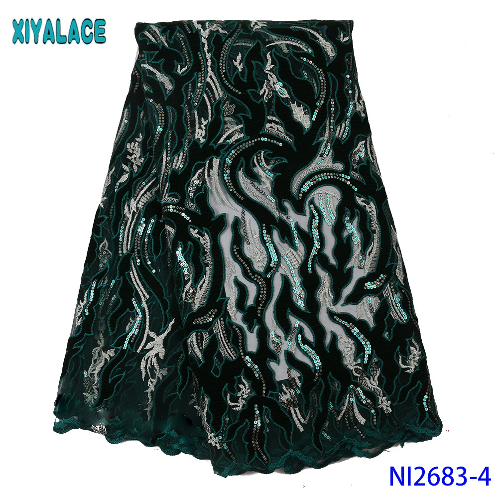 French Laces Fabrics High Quality Tulle African Wedding Lace Fabric Velvet Fabric Lace With Sequins For Women KSNI2683