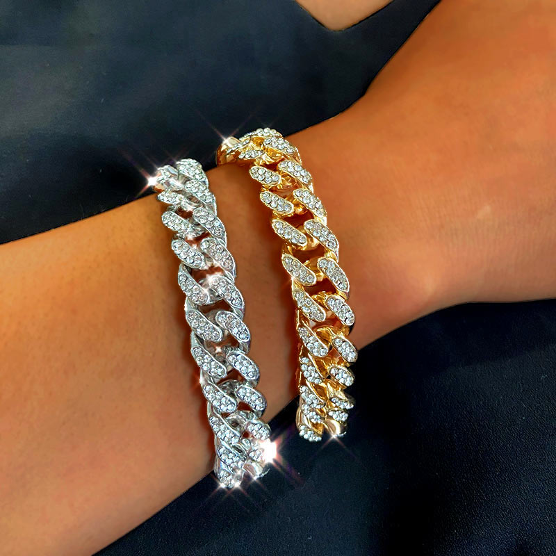 New Fashion Luxury 12mm Iced Out Cuban Link Chain Bracelet for Women Men Gold Silver Color Bling Rhinestone Bracelet Jewelry