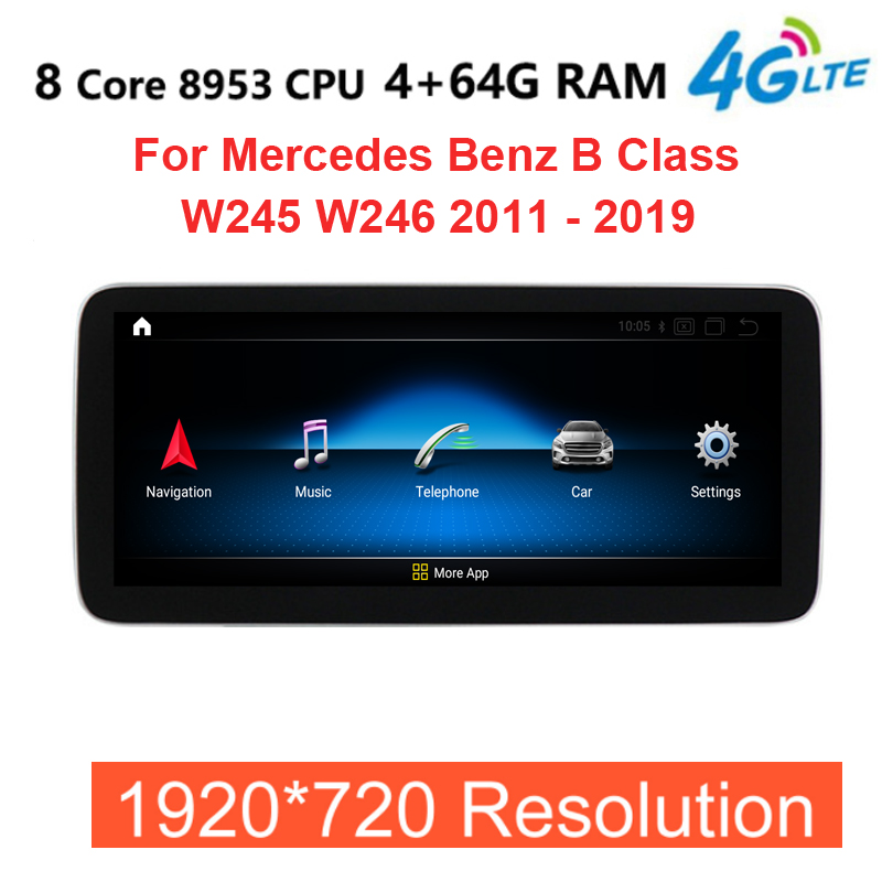 Android 10.0 8 Core 4+64G 4G LTE Car radio multimedia Player GPS Navigation For <font><b>Mercedes</b></font> Benz B Class W245 <font><b>W246</b></font> 2011 - 2018 image