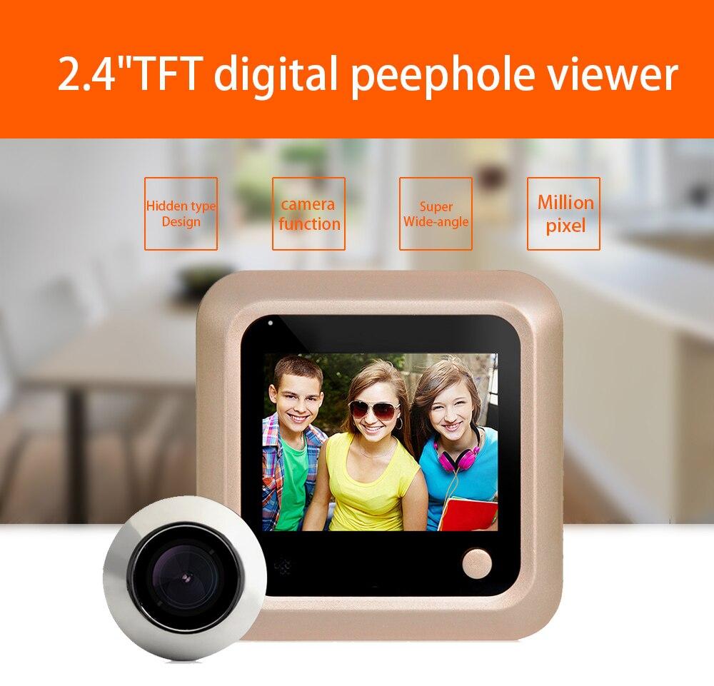 Peephole Door Camera 2.4Inch Color Screen With Electronic Door LED Lights Video Door Viewer Video-eye Home Security