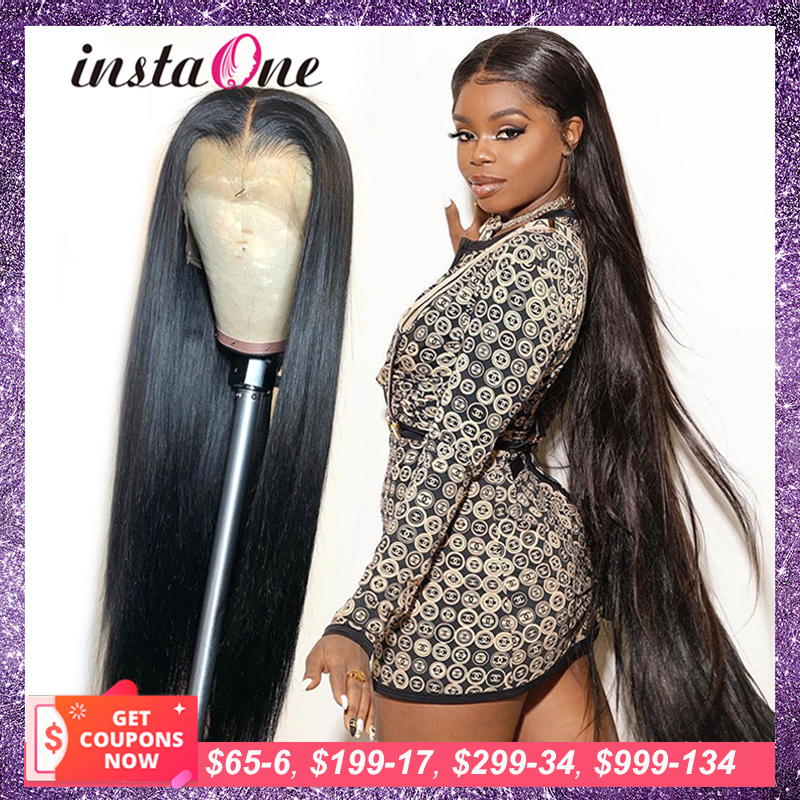 Human-Hair-Wigs Lace-Frontal Pre-Plucked 180-Density Straight Long 13x6 Brazilian 28-30inch