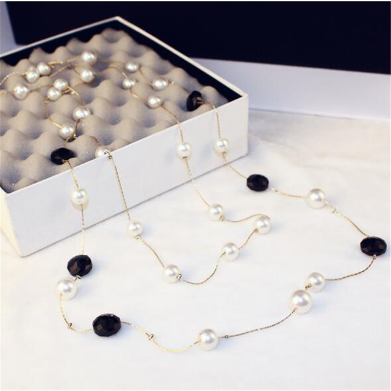 CX-Shirling Long Simulated Pearl Necklace For Women Double Layer pendant long necklace Party