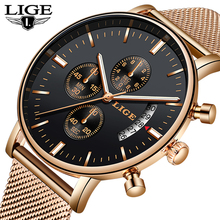 Lige 2019 새로운 패션 캐주얼 메쉬 벨트 쿼츠 골드 시계 여성 시계 톱 브랜드 럭셔리 날짜 방수 시계 relogio masculino