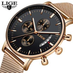 Image 1 - Lige 2019 새로운 패션 캐주얼 메쉬 벨트 쿼츠 골드 시계 여성 시계 톱 브랜드 럭셔리 날짜 방수 시계 relogio masculino