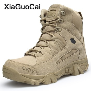 2019 fashion winter men chelsea boots ankle boot working boots lace up round toe high top shoes size 39 44 2020 Men Desert Boots Spring Autumn Ankle Army Military Boot Tactical High Top Male Shoes Lace Up Round Toe Plus Size Footwear
