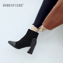 цена на ROBESPIERE Ankle Boots For Women Quality Genuine Leather Pointed Toe Shoes Classics Hoof Heels Winter Warm Plush Lady Boots B64