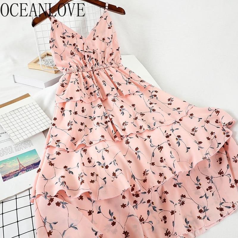 OCEANLOVE с цветочным принтом каскадными оборками Vestidos 2020 V образным вырезом Высокая Талия женское платье 2020 весенне-летние платья Винтаж 14364