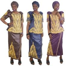 MD 아프리카 스커트와 탑 여성 세트 아프리카 스커트 정장 gele headtie 자수 전통 옷 2020 dashiki dresses