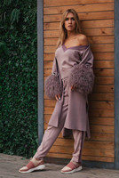 Women's Cardigan 2020 New Mink Wool Knitted Sheep Beach Wool Stitching Cuff Fashion Cardigan 45% Mink 30% Wool Single Button