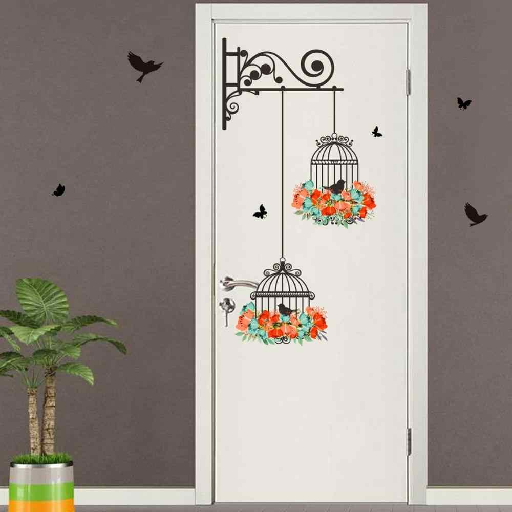 Мода Цветок Птица Наклейка на стену Наклейка Клетка декоративная живопись для спальни украшение стены Цвет Цветок Птица Cagesticke Sticke