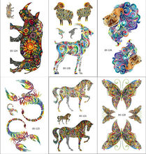 Colorful Camel Tattoos Temporary Scorpion Arm Dragon Art Tattoo Stickers Kangaroo Water Transfer Tatto Lizard for Men Women(China)