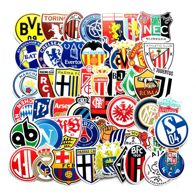 50pcs Cool Funny Stickers Skateboard Football Cartoon Stickers Suitcase Car Suitcase Laptop Phone Football Club Stickers