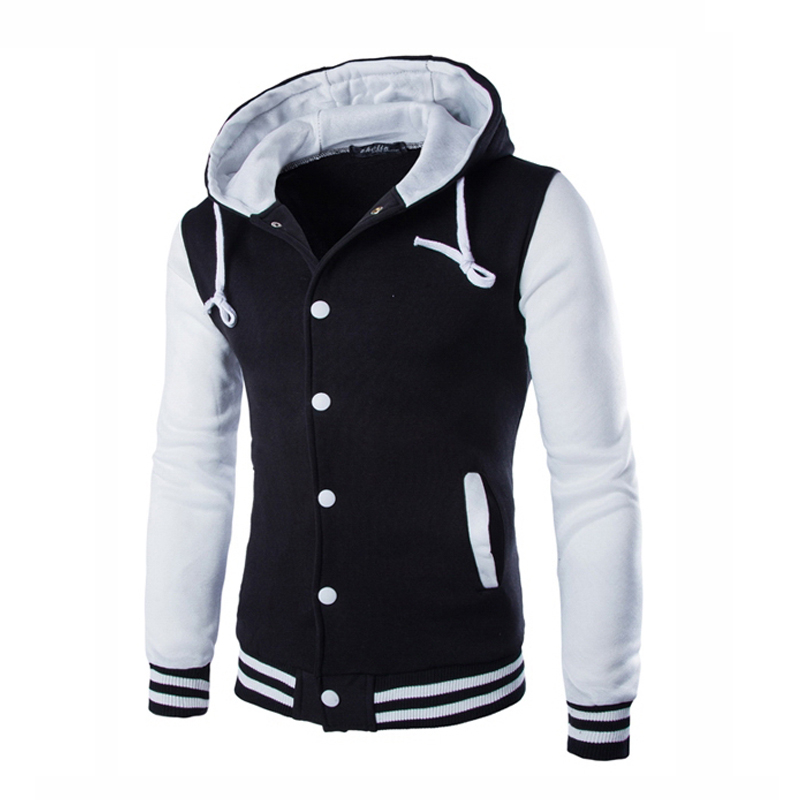 SWAGWHAT Men's Hoodies Hooded Striped Patchwork Baseball Jacket Sweatshirts College Varsity Coats Thin Hoodie Men Clothes