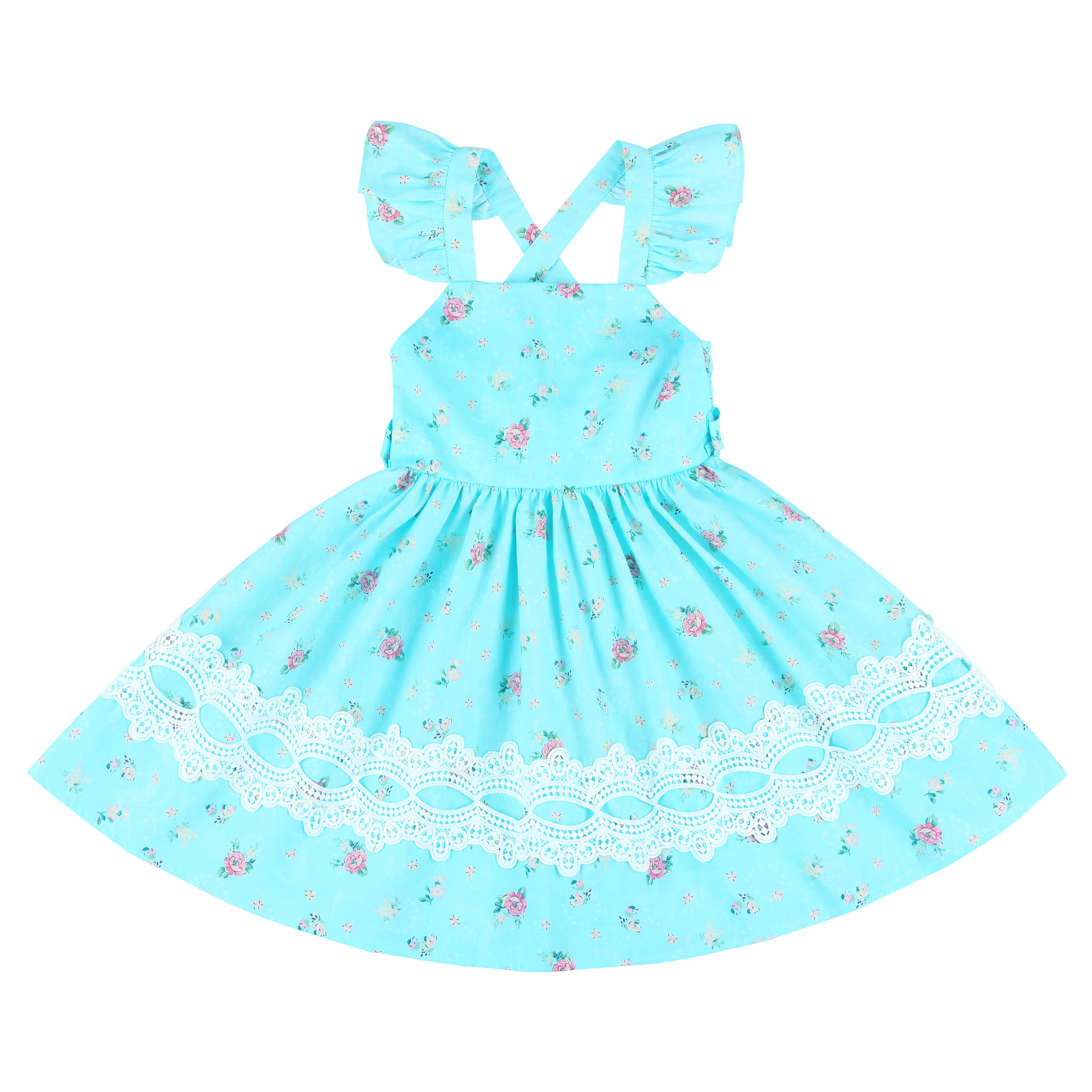 Flofallzique 2020 Brand Baby Girl Dress Vintage Flower Long Tape Design Cute <font><b>Princess</b></font> <font><b>Toddler</b></font> Clothes For Summer Party image