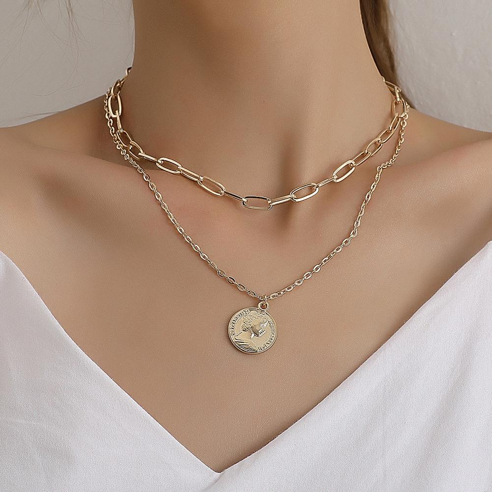 Bohemian Carved Coin Pendant Punk Layered Curb Cuban Chain Choker Necklace for Women Men Gold Color Vintage Neck Jewelry Charm