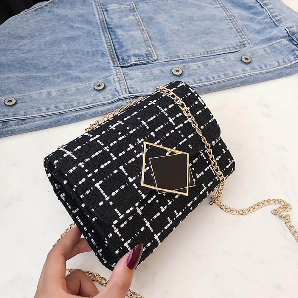 Chain Plaid Cross Body Bag For Women 2019 Fashion Messenger Bags Simple Wool Hasp Small Shoulder Bag Women Flap Bags Handbag #15