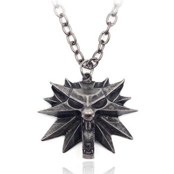 New Hot Sale Jewelry The Witcher 3 Wizard 3 Zinc Alloy Wolf Head Pendant Men's Necklace Jewelry lydz001 stylish cool zinc alloy wolf tooth style pendant necklace black silver