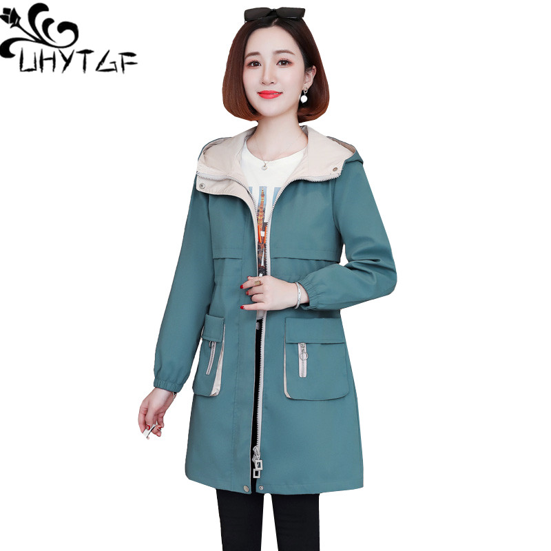 UHYTGF Genuine Spring Autumn Trench Coat Women Fashion Hooded Casual Plus Size Tops Outerwear Zipper Slim Female Windbreaker 811