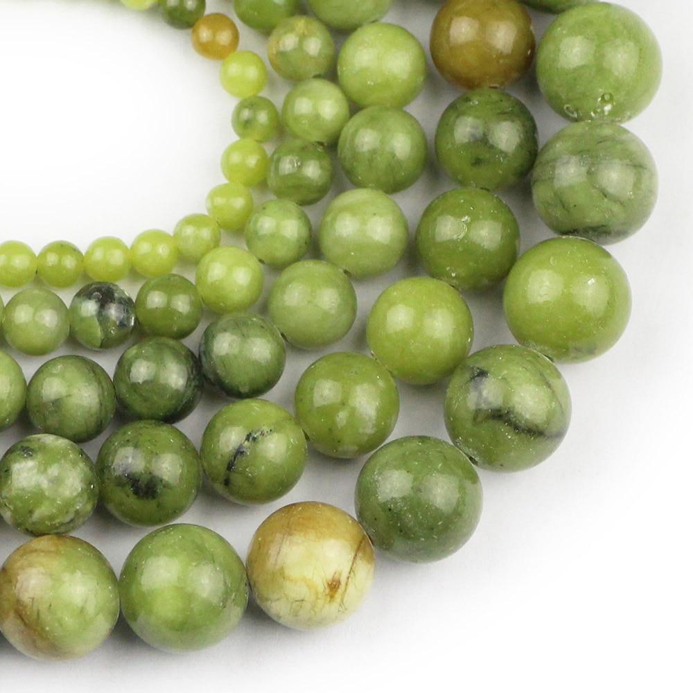 DIY 6//8//10MM Natural Green Jade Stone Gemstone Round Spacer Loose Beads New