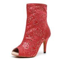 Женская Блестящая обувь для латиноамериканских танцев; Красные