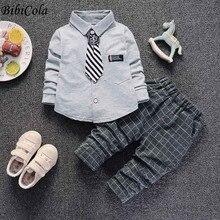 BibiCola toddle autumn tracksuit set baby boys wedding clothes set gentleman suit infant kids formal cardigan+pants clothes set