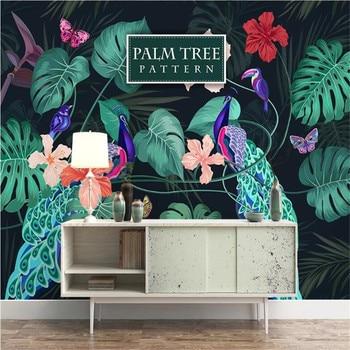 milofi custom wallpaper mural 3D hand-painted medieval tropical rainforest peacock jungle sofa TV background wall hand painted tropical rainforest plantain wall custom high end mural factory wholesale wallpaper mural photo wall