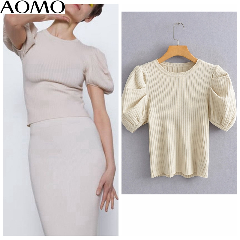 AOMO  Korea Chic Women Summer Sweater Puff Short Sleeve Vintage Ladies Knitted Jumper Tops AI03A