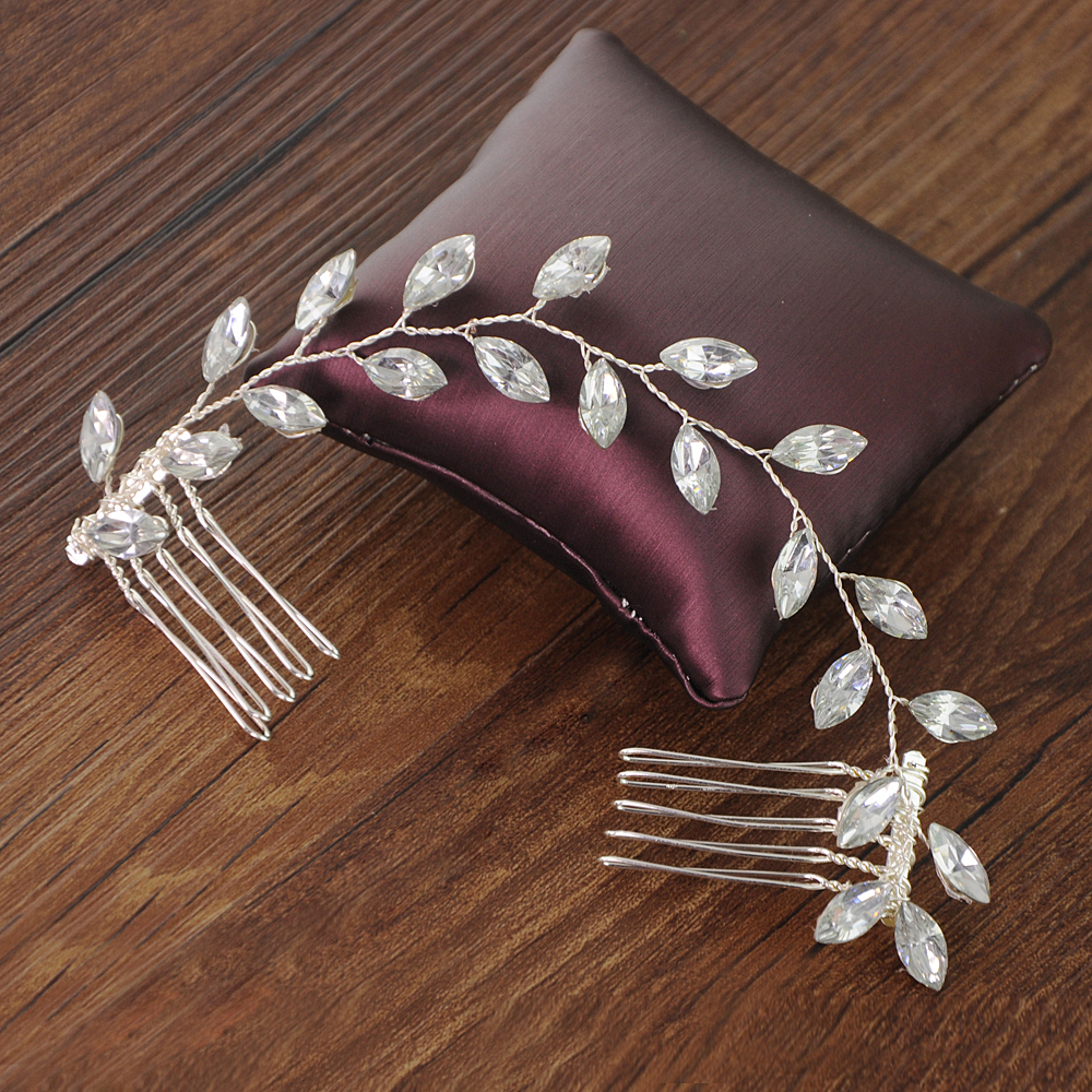 YouLaPan Wedding Hair Clip Double Hair Comb Wedding Hair Accessories Rhinestone Wedding Hair Jewelry Bridal Hair Comb HP09-S