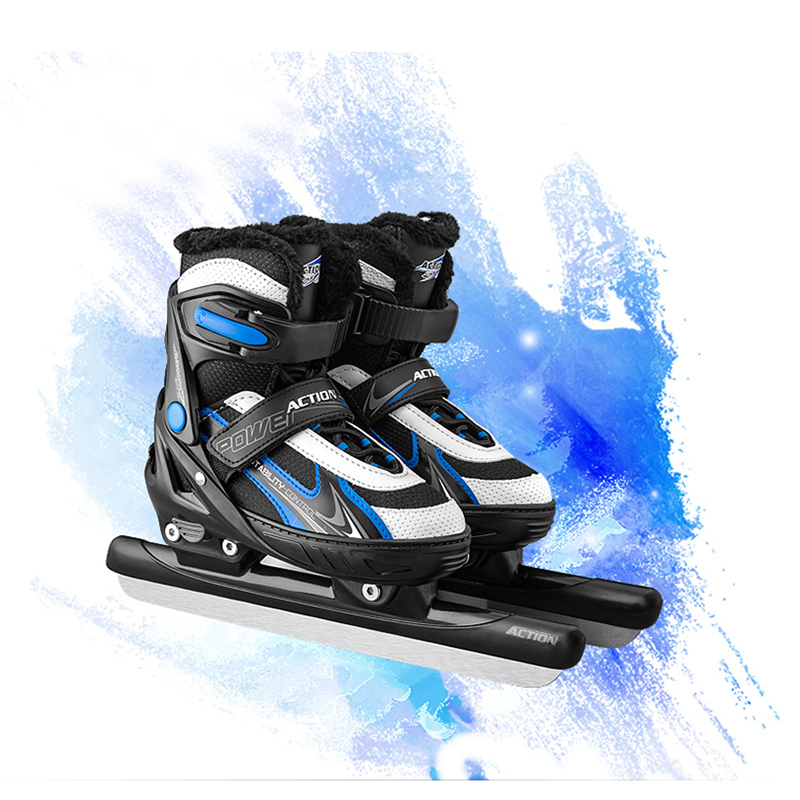 New 2019 One Pair Teenagers Children Kids Winter Ice Skates Ice Blade Thermal Warm Adjustable Speed Skating Shoes  Patins