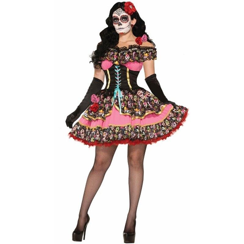 Umorden Womens Dia De Los Muertos Day Of The Dead Senorita Costume Skull Phantom Corpse Zombie Bride Halloween Carnival Dress