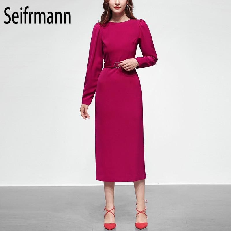 Seifrm 2019 Autumn New Soft Pink sexy dress Fashion Sashes Elegant Party dress Office Slim fit Knee Length dress Streetwear