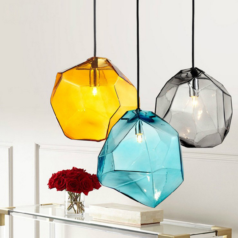 Nordic Lamp Colored Glass Interior Decoration Lighting Ice Chandelier Dining room lustre pendente cristal Chandelier Lighting