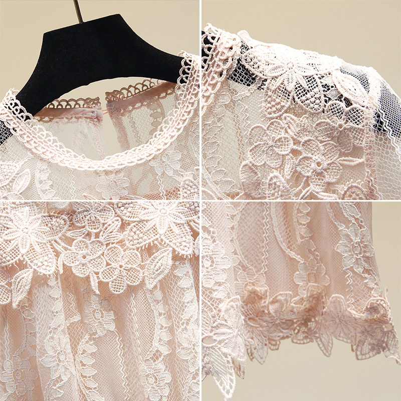 Short Sleeved Lace Blouse for Women Summer White Pink Lace Shirt Girls Students Lace Blouses Tops Blusas Mujer De Moda 2020