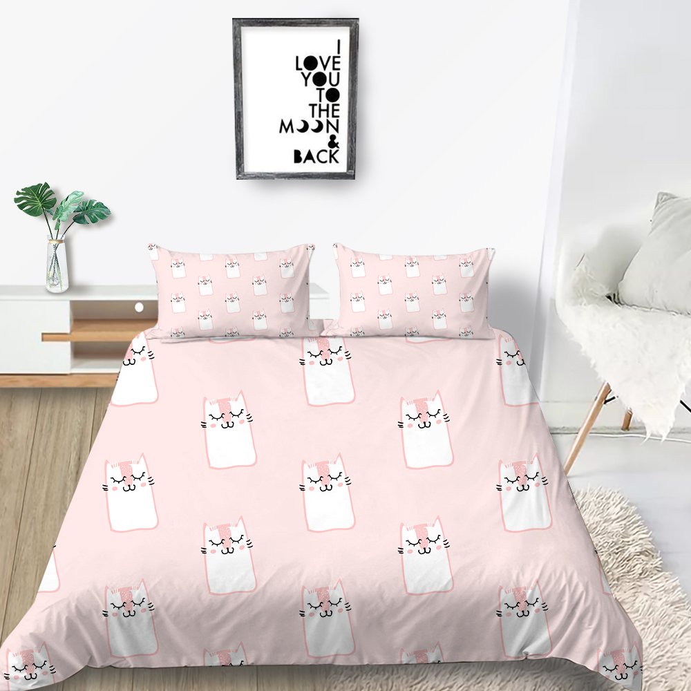 Милый комплект постельного белья с кошкой для девочек, модный розовый пододеяльник, мультяшный, королева, король, Твин, полный, одиночный, дв...
