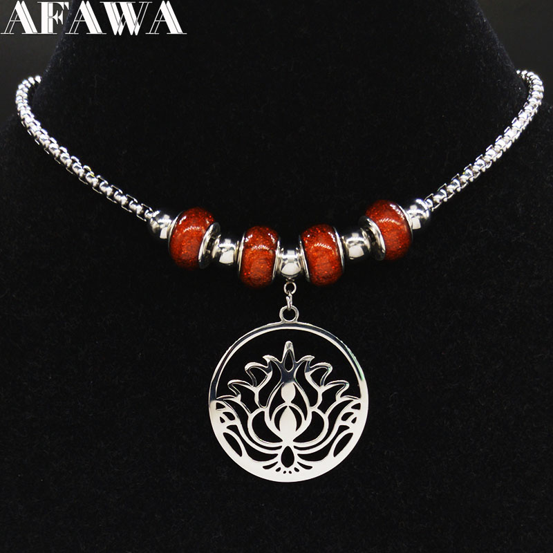 Fashion Lotus Flower of Life Stainless Steel Chain Necklace for Women Silver Color Beads Neckless Jewerly collares N621S01(China)