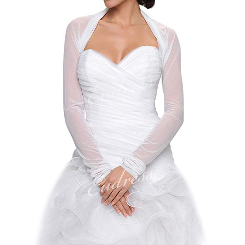 Bridal Ivory White Tulle Bolero Shrug Wedding Jacket Shawl Long Sleeves Wedding Accessories Elegant Bridal Wraps Shawls