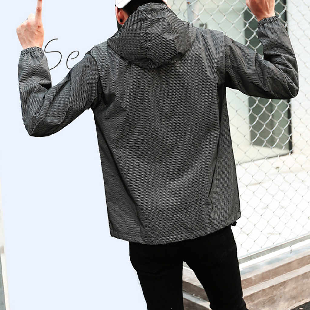 KANCOOLD 男性のフル反射ジャケットライトパーカー女性ジャケットヒップホップ防水ウインドブレーカー付きのストリートウェアコート男